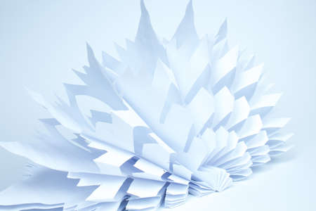 Snowflake made of paper on white background. voluminous.