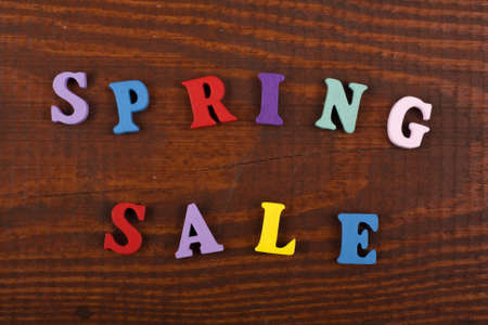 Spring sale word on wooden background composed from colorful abc alphabet block wooden letters, copy space for ad text. Learning english concept.