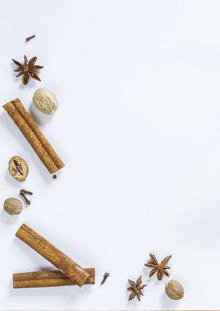 white backing: Spices isolated on white framecorner