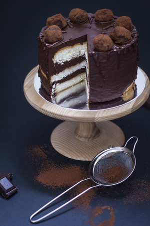 sifter: Chocolate layered cake on the stand