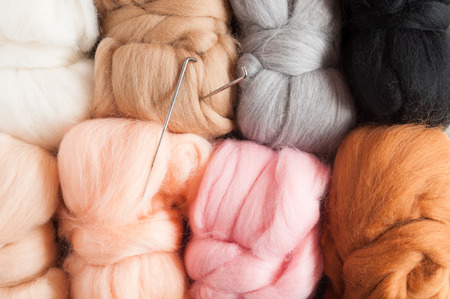 Wool background. Felting. Top view Foto de archivo