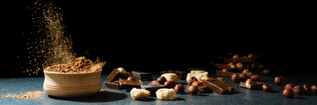 Cocoa powder in motion. Chocolate dust, cacao products, nuts on black background. Long web format 写真素材