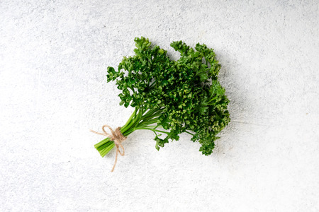 Parsley bunch on white concrete background. Fresh parsley herb. Vegetarian food background, top view