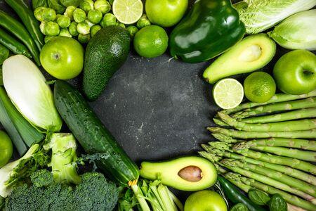 Green vegetables. Healthy food. Varietes of green healthy food vegetables and fruits. Healthy eating, keto diet, dieting concept. Top view