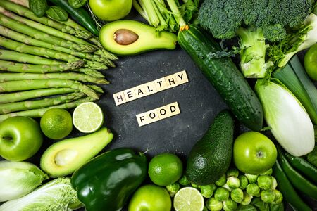 Healthy food. Varietes of green healthy food vegetables and fruits. Healthy eating, keto diet, dieting concept. Top view Stok Fotoğraf