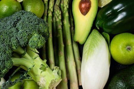 Green vegetables. Healthy food. Varietes of healthy food vegetables and fruits. Healthy eating, ketogenic diet, dieting, clean eating, detox concept. Top view