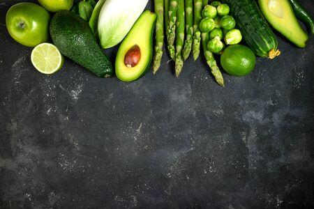 Green vegetables. Healthy food. Varietes of healthy food vegetables and fruits. Healthy eating, keto diet, dieting concept. Top view, copy space Stok Fotoğraf