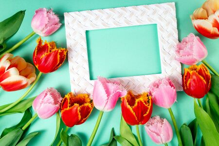 Bouquet of tulips flowers and frame on color festive background. Spring flowers on floral card flat lay. Greeting card, holidays concept. Top view Zdjęcie Seryjne