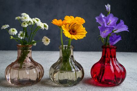 Beautiful flowers bouquets in vases with water drops. Summer bloom of wild flowers. Floral composition