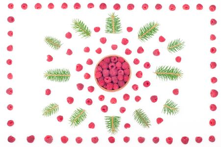 Christmas background with raspberries and fir branches isolated on white. Christmas compositions for holidays card. Top view. Flat lay Archivio Fotografico