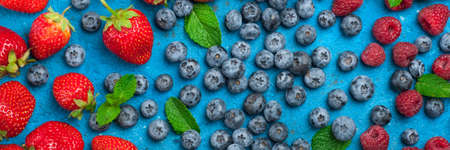Fresh summer berries strawberry, blueberry, raspberry. Various fresh summer berries. Long web format Banque d'images