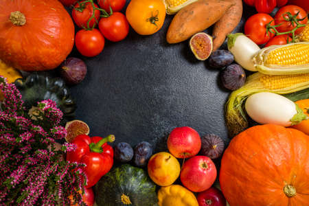 Autumn background with healthy food vegetables and fruits. Autumnal fruits vegetables. Thanksgiving day concept. Top view, copy space