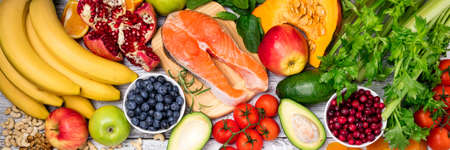 Background of healthy food for health heart. Healthy food, diet and healthy life concept. Long format