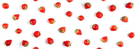 Strawberry on white background, top view. Berries pattern, flat lay. Strawberry isolated on white background. Long format for banner