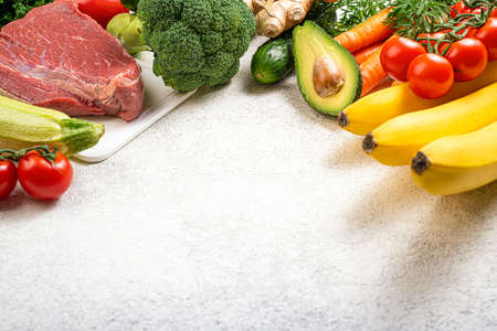 Healthy food background. Selection of various mediterranean diet products for healthy eating. Assortment of healthy food ingredients for cooking. Balanced, keto diet, healthy meal concept. Copy space