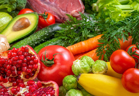 Healthy food background. Selection of various mediterranean diet products for healthy eating. Assortment of healthy food ingredients for cooking. Balanced, keto diet, healthy meal concept