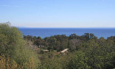 malibu: Panoramic view of the Pacific from the hills above Malibu, CA
