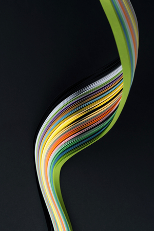 Abstract bright wavy lines on black background. Abstract modern background. Futuristic concept.