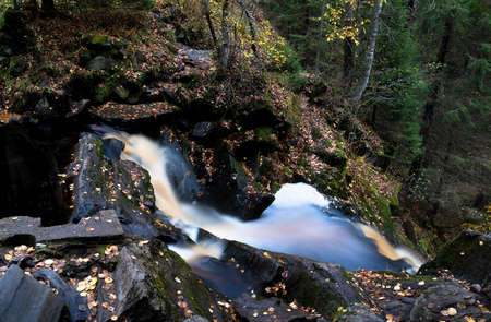 Amazing mountain waterfall landscape. Autumn forest and waterfall background. Great design for any purposes.