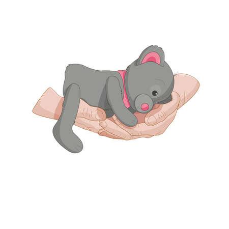 teddy bear lies on hands vector illustration
