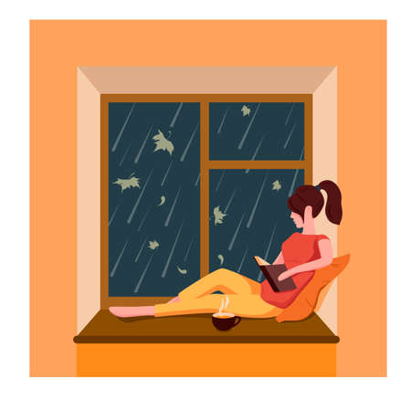 A girl sits by the window, reads a book and drinks tea while it is raining outside the window Vektoros illusztráció