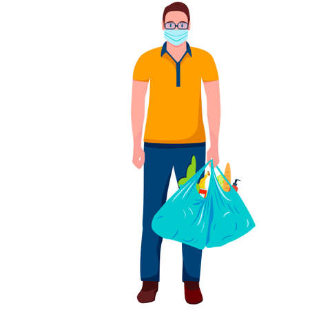 Man in medical mask shopping with purchases Ilustracja