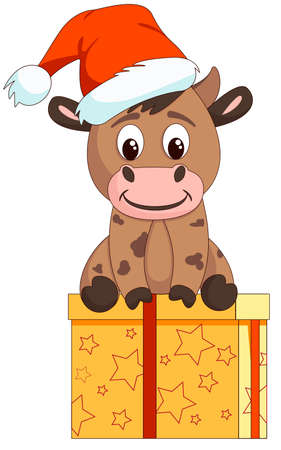 Cute bull sits on a gift in a hat of santa claus