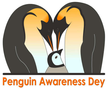 The family of emperor penguins takes care of their offspring with tenderness and love. Vektorgrafik