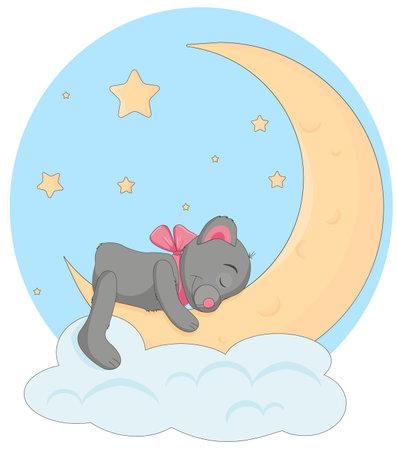 Teddy bear with a pink bow sleeps on the moon and a soft cloud.