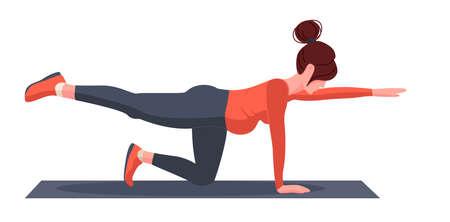 Young pregnant girl doing yoga doing postures