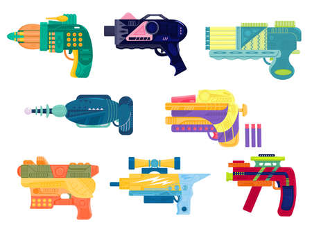 Set of colorful blasters in flat style