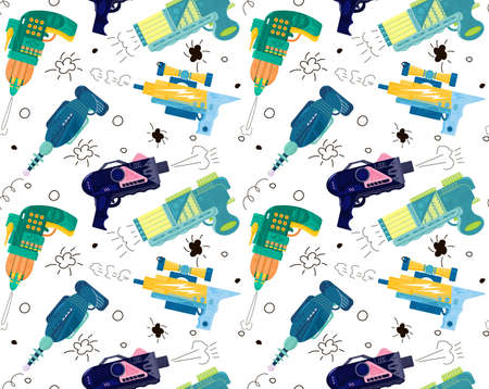 Pattern with bright blasters on a white background