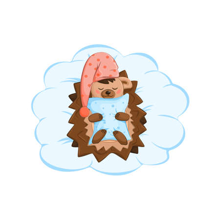 A cute smiling hedgehog in a red nightcap sleeping on an air cloud. He holds a blue pillow in his paws. Childrens illustration. Cartoon style. Vector illustration