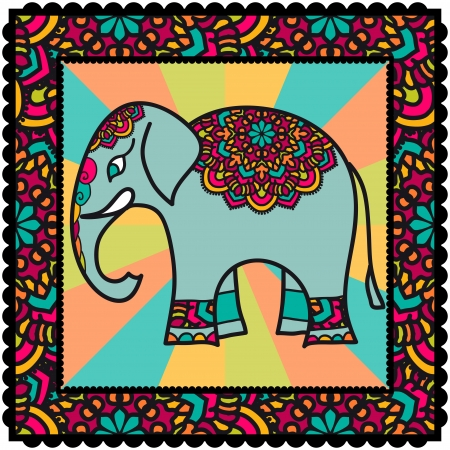Ethnic Ornament With Ornate Indian Elephant Vector