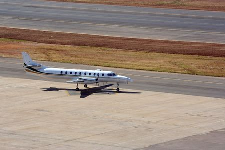 propelled: Private or commercial jet heading to the runway ready for take off
