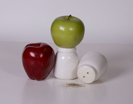 Salt and Pepper with Apples Banco de Imagens