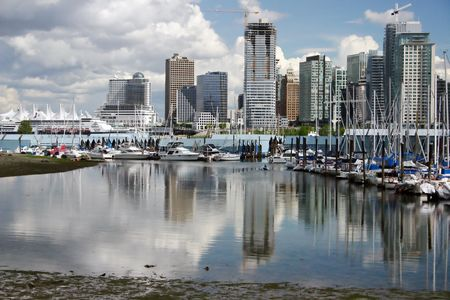 port stanley: A view of vancouver downtown harbor boathouse.
