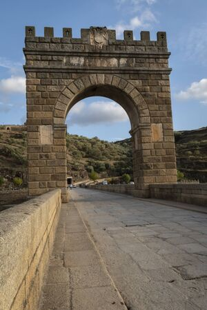 Roman bridge of Alcantara in arch built between 103 and 104. It crosses the Tajo river.