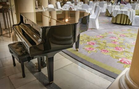 Grand piano inside a large dining room
