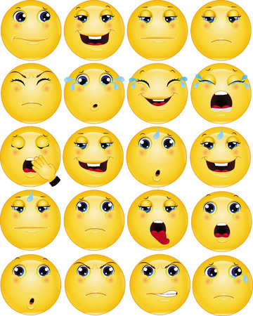 Sad Emoticons Vector Set 向量圖像