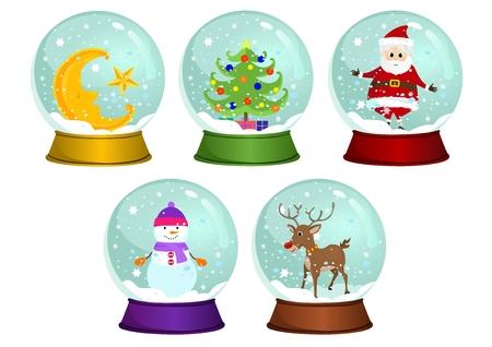 Christmas Snow Globes Vector Set 向量圖像