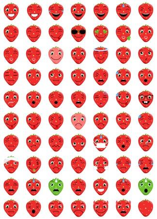 Strawberry Emoticons 向量圖像