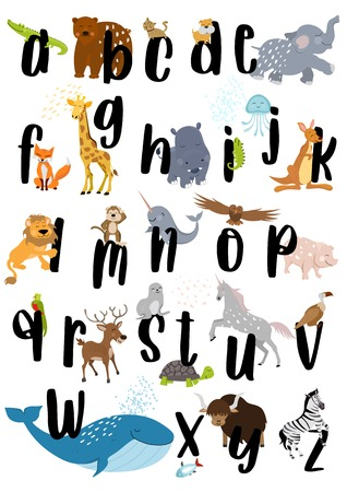 Alphabet animal 向量圖像