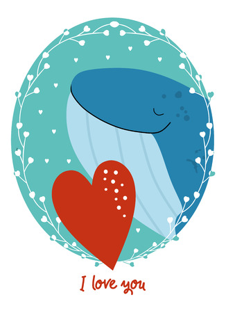 Valentines Day card with animal Illustration