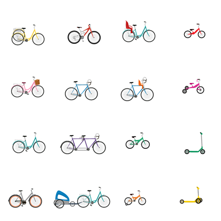 Vector illustrations of bicycle, child bike seat and kick scooter