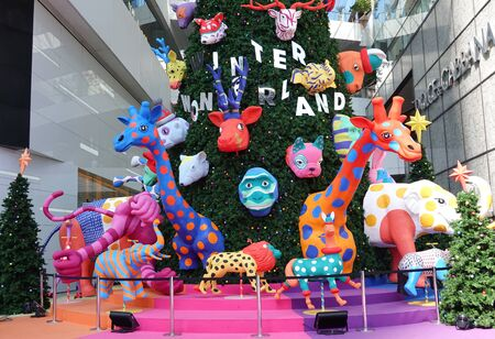Sukhumvit, Bangkok, Thailand, 11.20.2019,  Christmas tree and decoration outside a shopping centre, Emquartier welcomes Christmas and New Year,  Winter Wonderland, pine forests Various animal forms
