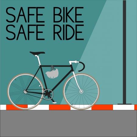 family outside house: Safe Bike Safe Ride Illustration
