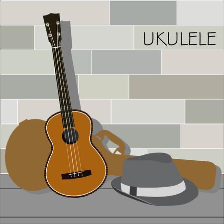 Ukulele and Panama Hat Ilustração