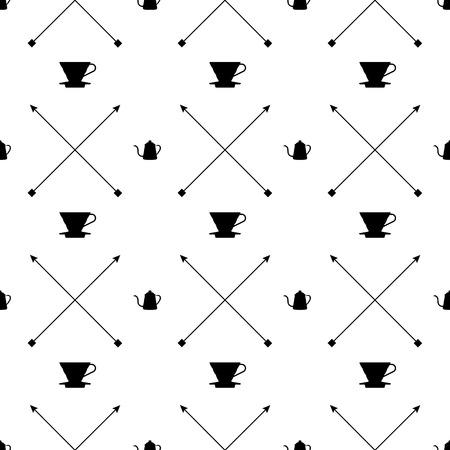 kettles: Iconos del diseño del piso de blanco y negro, Verter sobre la cafetera de goteo, hervidores de cuello de ganso, y cruzaron las flechas se ilustran ser el modelo gráfico sin fisuras.