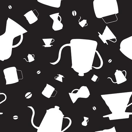 kettles: Iconos del diseño del plano de la silueta blanco, verter sobre los responsables de goteo de café, hervidores de cuello de ganso, Chemex, granos de café, y el lanzador se ilustran de forma aleatoria para ser el patrón gráfico sin fisuras.